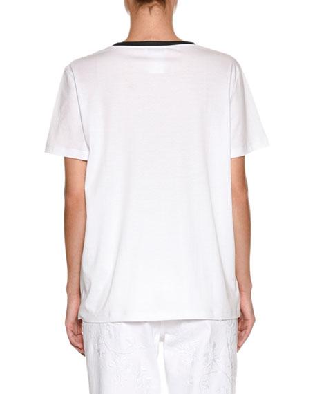 Crewneck Short-Sleeve Cotton T-Shirt with Jeweled Medallion