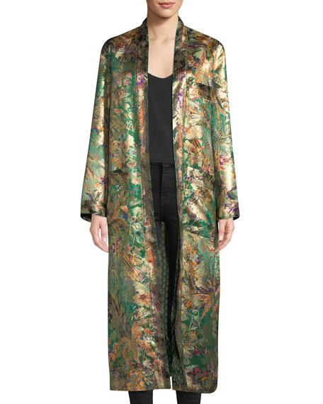 Floral-Print Metallic Silk Kimono Coat