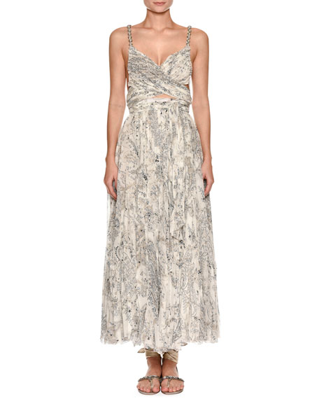 Etro Sweetheart-Neck Beaded-Strap Printed Silk Dress with Slit