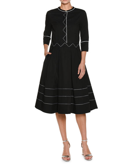 3/4-Sleeve Contrast-Trim A-line Dress