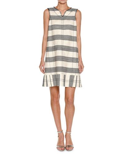 Striped Canvas Sleeveless Dress