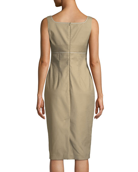 Cotton Sateen Bustier Sleeveless Sheath Dress