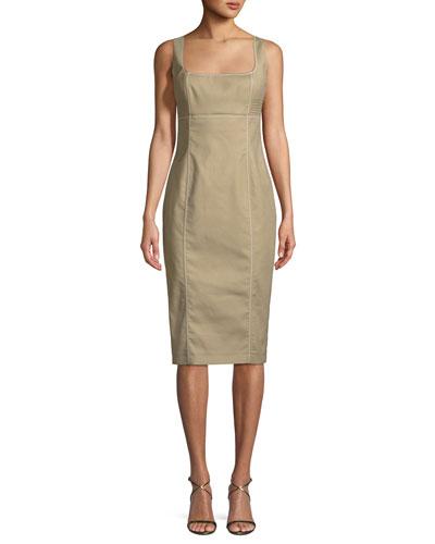 Cotton Sateen Bustier Sleeveless Sheath Dress