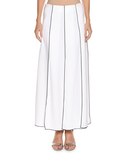 Long Gored Skirt with Contract Piping