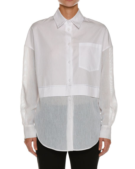 Silk Seersucker-Trim Tunic Shirt