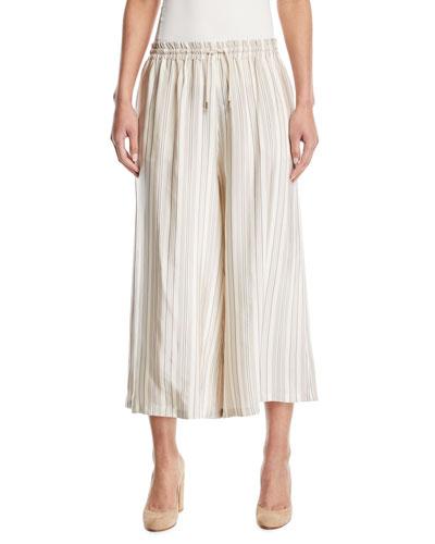 Striped Drawstring Wide-Leg Crop Pants