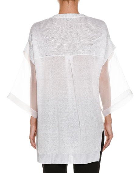 Organza-Sleeve Linen-Blend Knit Tunic