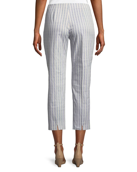 Audrey Straight-Leg Cropped Striped Pants