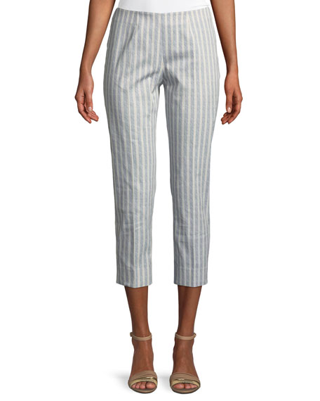 Piazza Sempione Audrey Straight-Leg Cropped Striped Pants