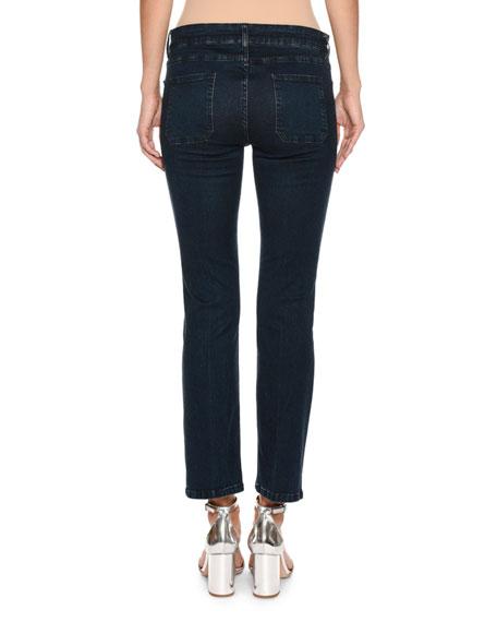 Five-Pocket Cropped Jeans, Navy