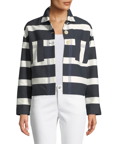 PIAZZA SEMPIONE Block-Stripe Sateen Crop Jacket W/ Topstitching in Blue/White