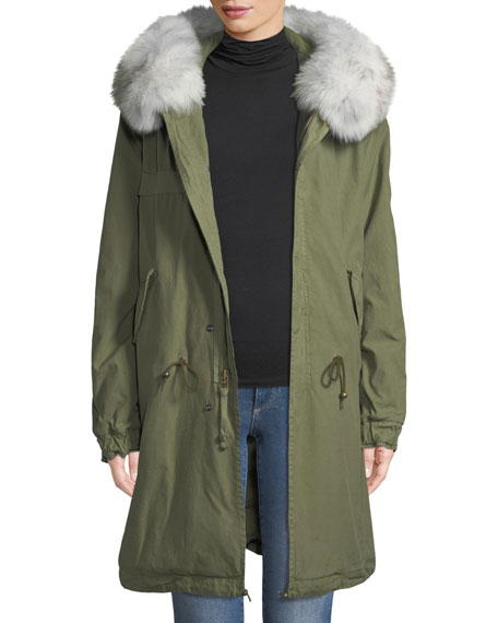Mr&Mrs Italy Quilted Hooded Parka Coat with Fur Collar