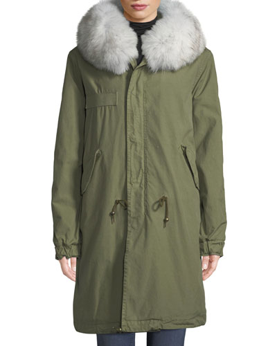 Quilted Hooded Parka Coat with Fur Collar