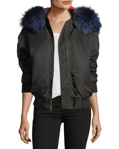 Zip-Front Bomber Jacket with Fox-Fur Trim