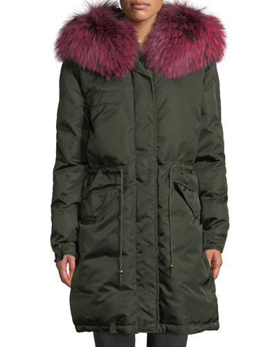 Zip-Front Puffer Jacket with Fox-Fur Hood
