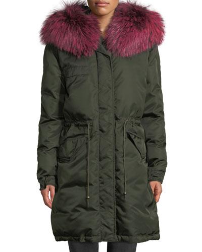 Zip-Front Puffer Jacket with Fox-Fur Hood