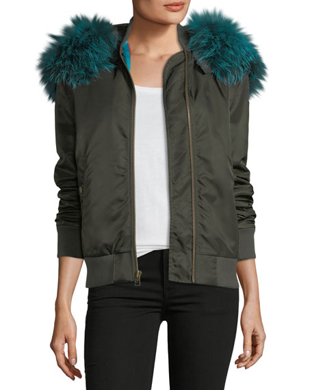 Mr&Mrs Italy Zip-Front Bomber Jacket with Fox-Fur Trim