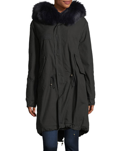 Hooded Button-Front Parka Coat with Fox Fur