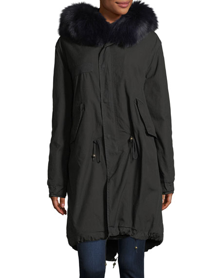 Mr&Mrs Italy Hooded Button-Front Parka Coat with Fox