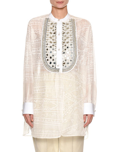 Beaded-Bib Tunic Top