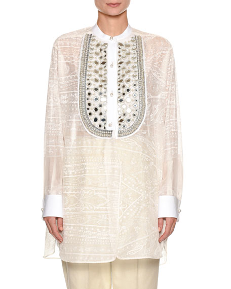Etro Beaded-Bib Tunic Top