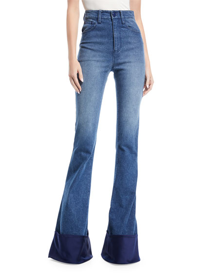 Brandon Maxwell High-Waist Bell-Bottom Jeans with Satin Cuff