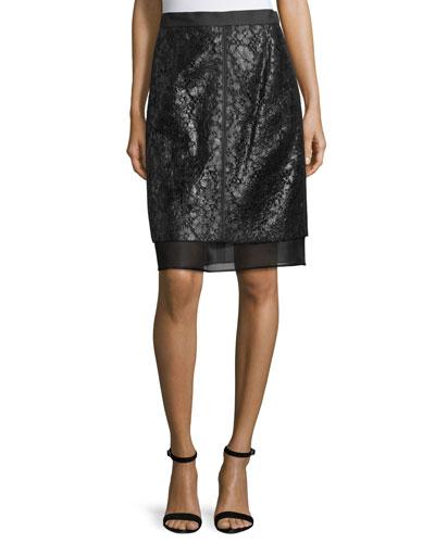 Lace Overlay Pencil Skirt, Noir