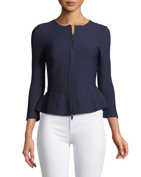 Zip-Front Pleated-Hem Peplum Jacket