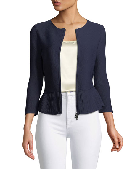 Emporio Armani Zip-Front Pleated-Hem Peplum Jacket