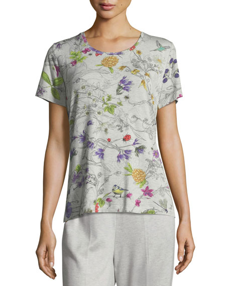 Escada Short-Sleeve Crewneck Floral-Print Jersey Tee