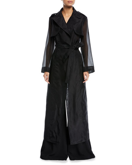 Tie-Waist Long Organza Trench Coat