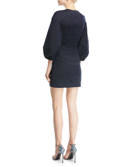 Rosario 3/4-Sleeve Fitted Mini Dress with Abstract Button Trim