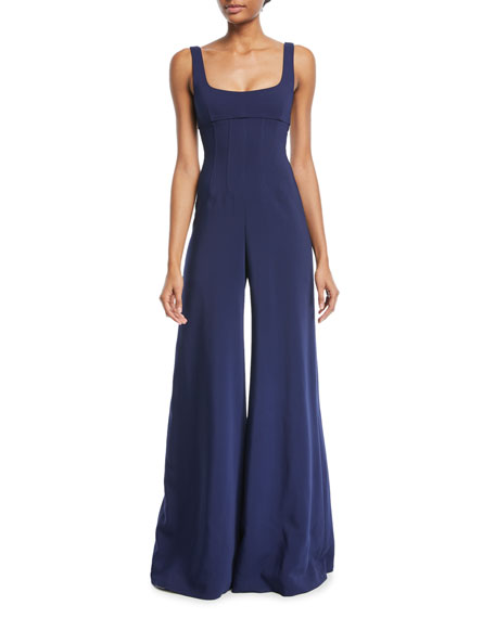 Celesta Sleeveless Corset-Waist Wide-Leg Pants