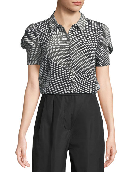 Co Optical Dot-Print Button-Front Silk Top