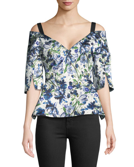 Karla V-Neck Floral-Print Duchess Satin Peplum Top