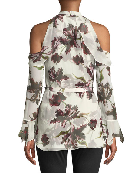 Uriel Cold-Shoulder Wallpaper-Print Silk Voile Blouse