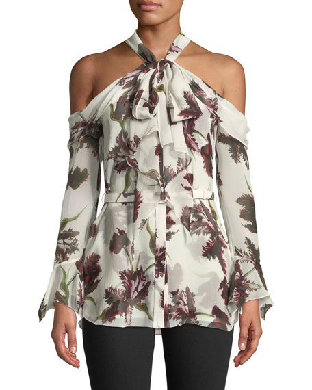 Erdem Uriel Cold-Shoulder Wallpaper-Print Silk Voile Blouse