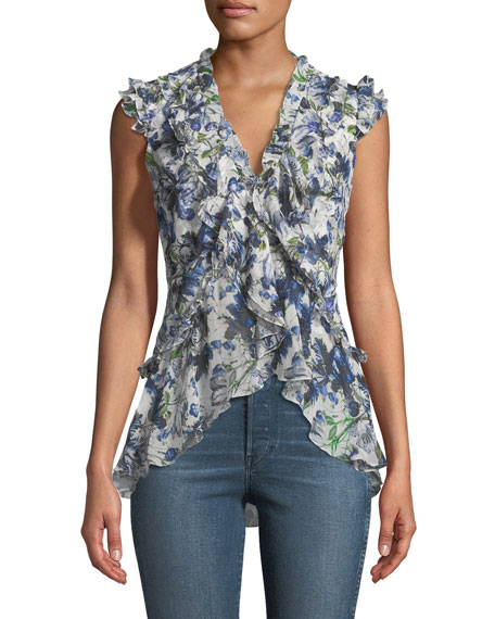 Regina V-Neck Ruffled Silk Voile Top