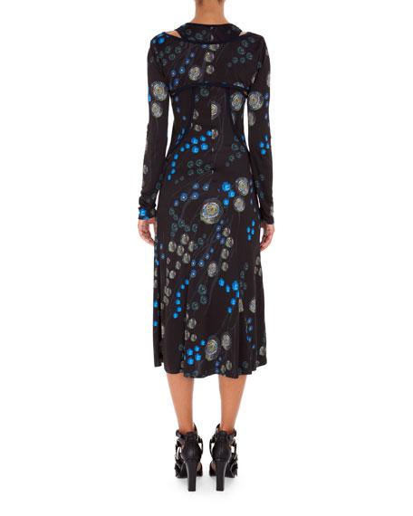 Redon Floral-Print Sleeveless Racerback Midi Dress with Bolero Overlay