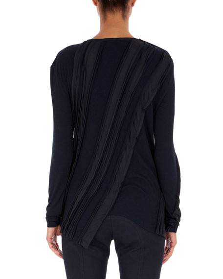 Long-Sleeve Sculpted Jersey Top