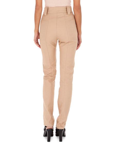High-Waist Slim Straight-Leg Cotton Pants