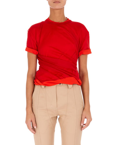 High-Neck Short-Sleeve Twisted Jersey Top