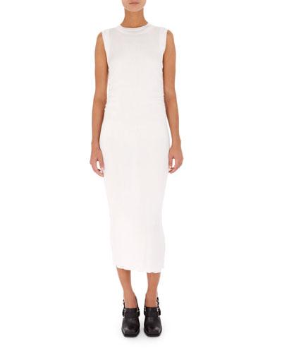 Rib-Knit Long Sheath Midi Dress