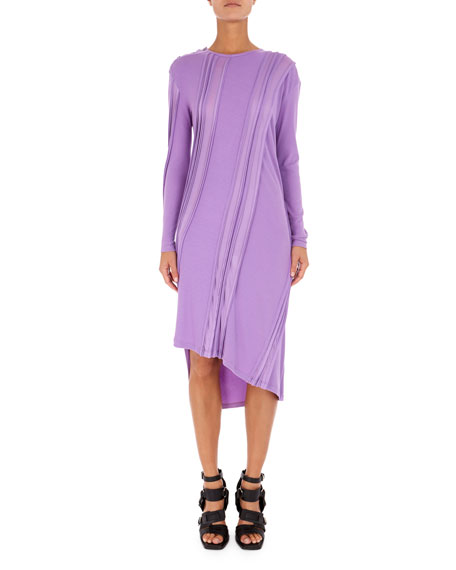 Asymmetric Long-Sleeve Ribbed Midi Dress