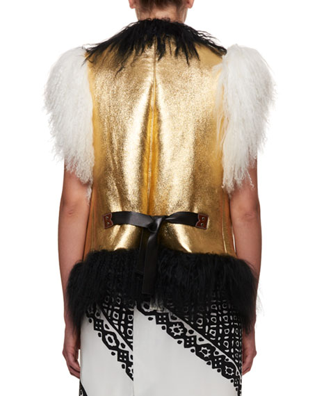 Belleville Mongolian Shearling Fur Belted Leather Vest with Embroidery