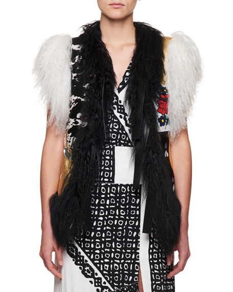 Altuzarra Belleville Mongolian Shearling Fur Belted Leather Vest
