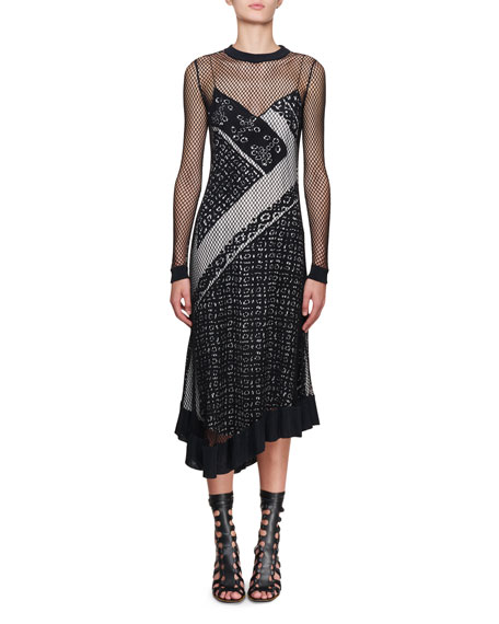 Altuzarra Kleber Fishnet Long-Sleeve Bandana-Print Midi Dress and