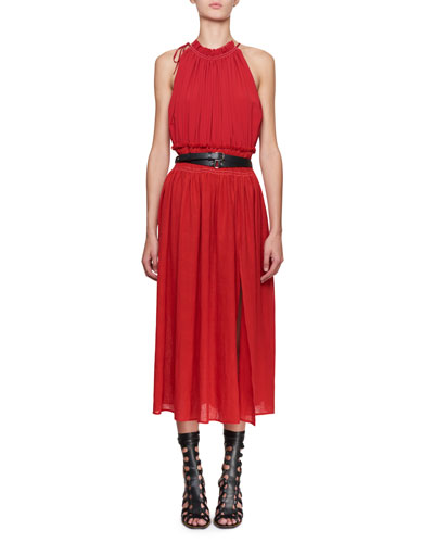 Vivienne Sleeveless Halter Crepe De Chine Dress