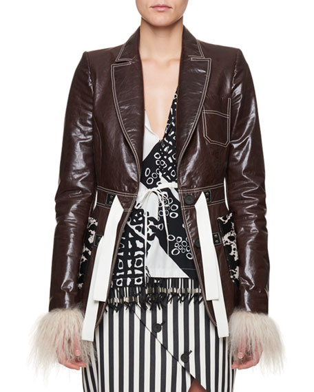 Bastille Cow-Patch Leather Jacket with Shearling Cuffs