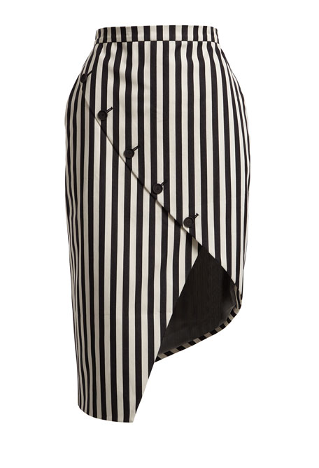 Asymmetric Button-Slit Striped Silk Skirt